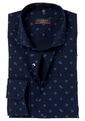 ETERNA Modern Fit overhemd, donkerblauw universum dessin