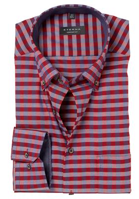 Eterna Comfort Fit, Mouwlengte 7, blauw-rood-geruit (contrast)