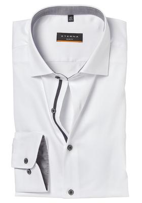 ETERNA Slim Fit overhemd, wit structuur (grijs contrast)