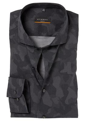 ETERNA Slim Fit Stretch overhemd, zwart dessin (camouflage print)