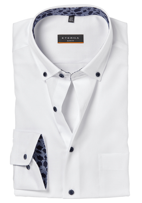 ETERNA Slim Fit overhemd, wit (blauw contrast)