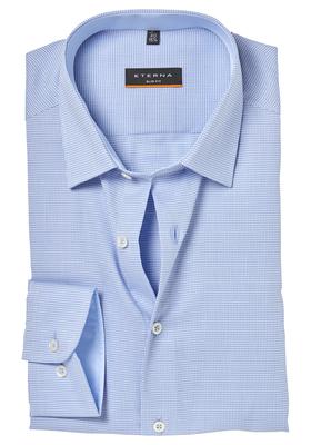 ETERNA Slim Fit overhemd, lichtblauw ruitje (contrast)