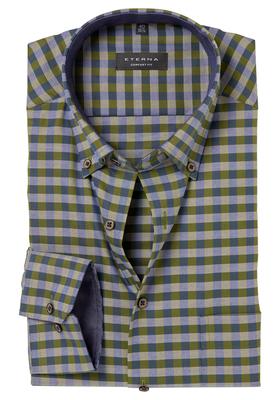ETERNA Comfort Fit overhemd, groen-blauw geruit (contrast)