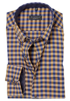 ETERNA Comfort Fit overhemd, oker geel-blauw geruit (contrast)