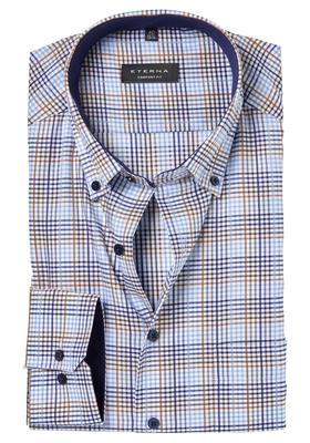 ETERNA Comfort Fit overhemd, beige-wit-blauw geruit