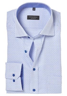 ETERNA Comfort Fit overhemd, blauw-wit-geruit (contrast)
