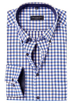 ETERNA Comfort Fit overhemd, oker-wit-blauw geruit (contrast)