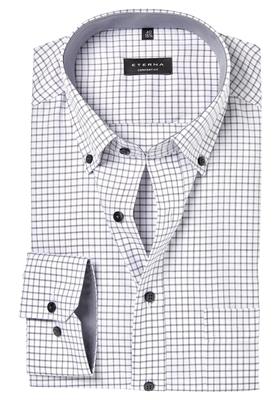 Zwart Wit Geruit Overhemd.Eterna Comfort Fit Overhemd Wit Zwart Geruit Contrast Altijd