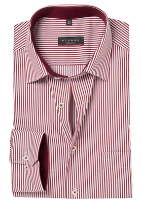 ETERNA Modern Fit overhemd, bordeaux rood gestreept (contrast)