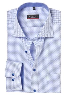 ETERNA Modern Fit overhemd, lichtblauw geruit (contrast)
