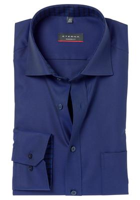 ETERNA Modern Fit overhemd, donkerblauw (geruit contrast)