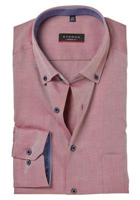 ETERNA Modern Fit overhemd, donkerrood twill (contrast)