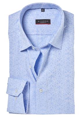 ETERNA Modern Fit overhemd, lichtblauw jacquard dessin