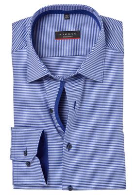 ETERNA Modern Fit overhemd, blauw pied de poule (contrast)