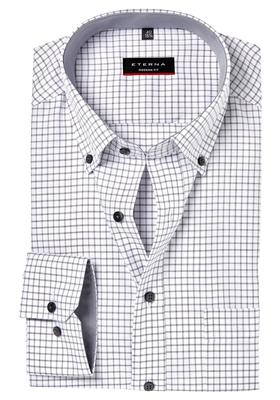 ETERNA Modern Fit overhemd, wit-zwart geruit (contrast)