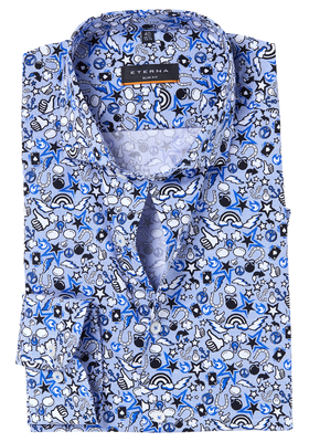 Eterna Slim Fit overhemd, blauw cartoon dessin