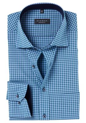 ETERNA Comfort Fit overhemd, blauw-groen geruit (contrast)