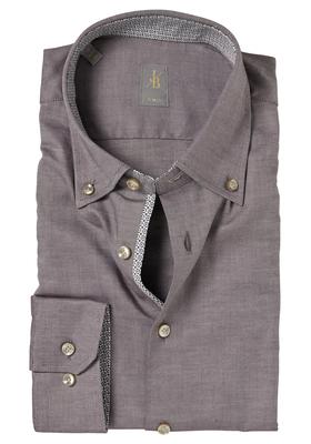 Jacques Britt overhemd, Treviso, Slim Fit, bruin Oxford (contrast)