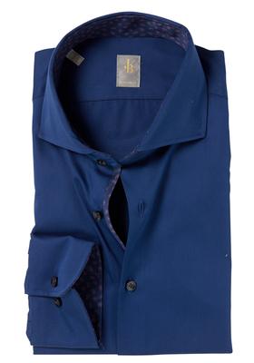 Jacques Britt overhemd, Roma, Custom Fit, blauw flanel (contrast)