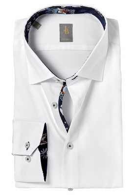 Jacques Britt overhemd, Como, Custom Fit, wit Twill (contrast)