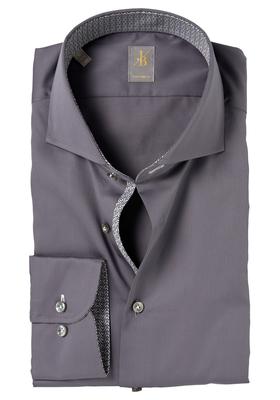 Jacques Britt overhemd, Roma, Custom Fit, grijs (contrast)