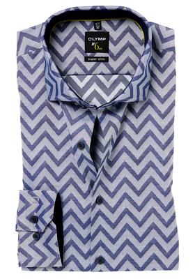 OLYMP No. 6 Six, Super Slim Fit overhemd, blauw dessin (contrast)