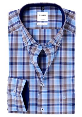 OLYMP Comfort Fit overhemd, blauw-bruin geruit (contrast)