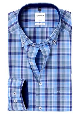 Groen Geruit Overhemd.Olymp Comfort Fit Overhemd Groen Blauw Geruit Contrast Actie 5