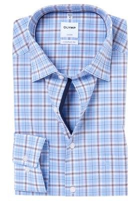 OLYMP Comfort Fit overhemd, lichtblauw-bruin geruit (contrast)