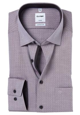 OLYMP Comfort Fit overhemd, bruin visgraat met stipje (contrast)