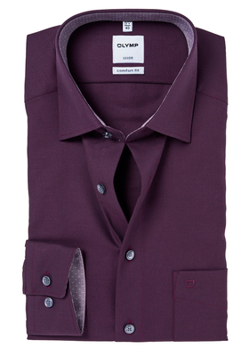 OLYMP Comfort Fit overhemd, bordeaux rood structuur (geruit contrast)