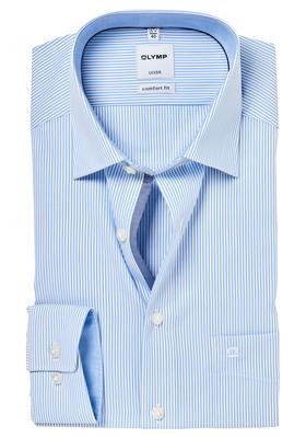 OLYMP Comfort Fit overhemd, lichtblauw gestreept (contrast)