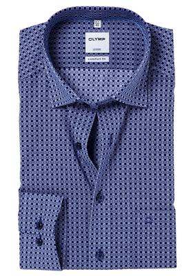 OLYMP Comfort Fit overhemd, blauw-wit dessin