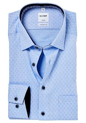 OLYMP Comfort Fit overhemd, lichtblauw ingeweven bolletjes dessin (contrast)