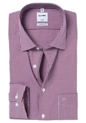 OLYMP Comfort Fit overhemd, bordeaux rood geruit (contrast)