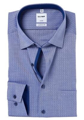 OLYMP Comfort Fit overhemd, donkerblauw visgraat met stipje (contrast)