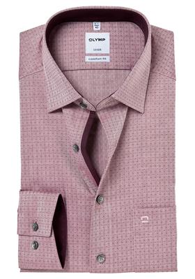 OLYMP Comfort Fit overhemd, bordeaux rood visgraat met stipje (contrast)