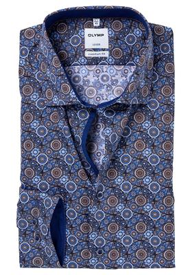 OLYMP Comfort Fit overhemd, blauw-bruin dessin (contrast)