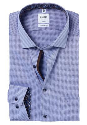 OLYMP Comfort Fit overhemd, blauw structuur (dessin contrast)
