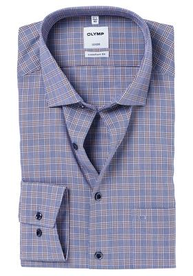 OLYMP Comfort Fit overhemd, blauw-bruin geruit