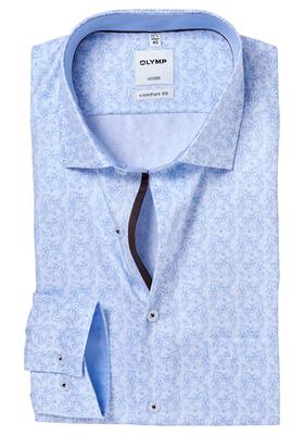 OLYMP Comfort Fit overhemd, lichtblauw-wit dessin (contrast)