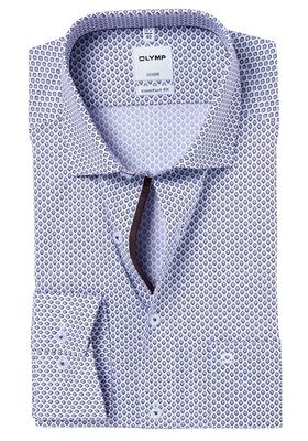 OLYMP Comfort Fit overhemd, blauw-bruin-wit dessin (contrast)