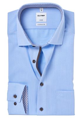 OLYMP Comfort Fit overhemd, lichtblauw structuur (contrast)