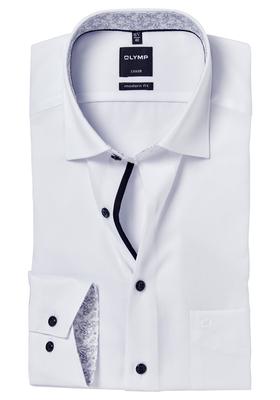 OLYMP Modern Fit overhemd, wit twill (zwart dessin contrast)