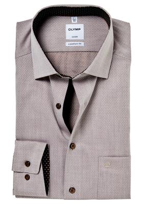 OLYMP Comfort Fit overhemd, lichtbruin structuur (contrast)