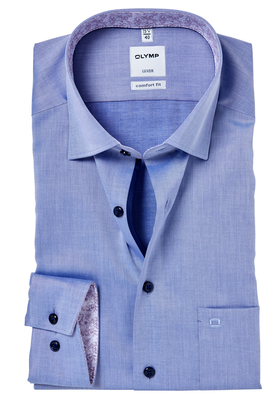 OLYMP Comfort Fit overhemd, blauw twill (dessin contrast)