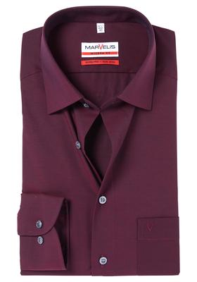 MARVELIS Modern Fit overhemd, bordeaux rood