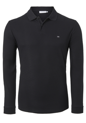 Calvin Klein Fitted Polo long sleeve, zwart