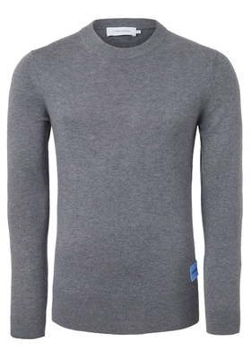 Calvin Klein Wool Cotton Logo Badge Pullover, grijs
