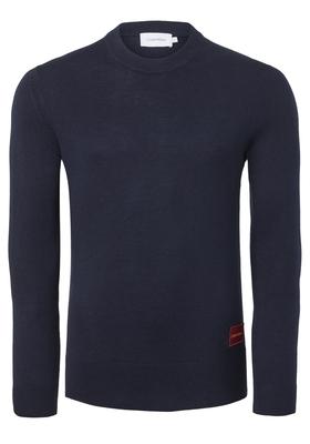 Calvin Klein Wool Cotton Logo Badge Pullover, donkerblauw